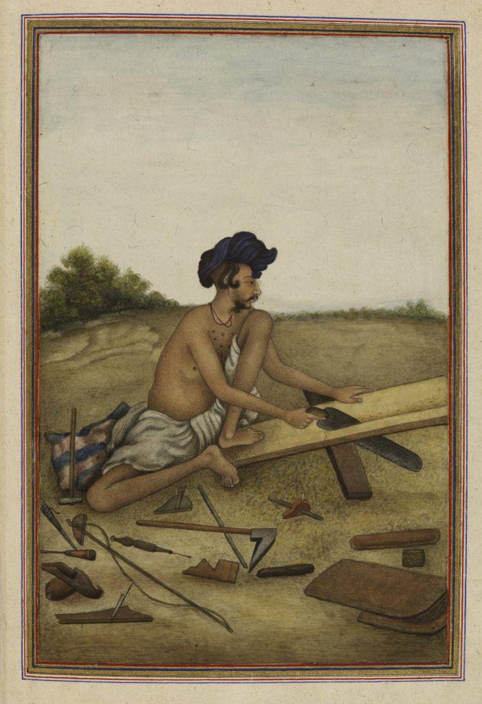 Khati_or_Tarkhan,_carpenter_caste_of_the_Panjab_-_Tashrih_al-aqvam_(1825),_f.287v_-_BL_Add._27255